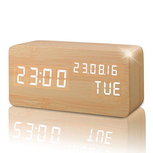 Digitaler Wecker Hölzern, LED-Anzeige, Einstellbare Helligkeit / Sound Control, Kalender