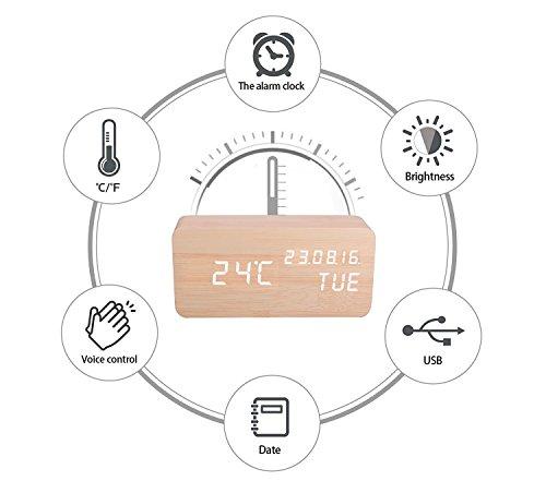 Digitaler Wecker Hölzerner, Leise LED-Anzeige Einstellbare Helligkeit / Sound Control, Tischuhr Indikator Kalender Zeit und Temperatur für Haus und Büro (Gelb-2) - 2