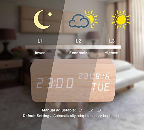 Digitaler Wecker Hölzerner, Leise LED-Anzeige Einstellbare Helligkeit / Sound Control, Tischuhr Indikator Kalender Zeit und Temperatur für Haus und Büro (Gelb-2) - 3