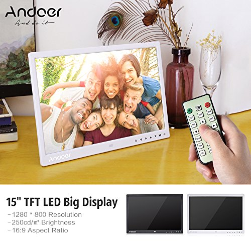 Andoer 15 inch TFT LED Digital Bilderrahmen mit MP4/MP3/e-book/Uhr/Kalender/High-Definition 1280x800 Pixel-Display mit Touch-Taste/Infrarot-Fernbedienung/Unterst¨¹zt 14 Sprachen mit Halter 100V-240V - 4