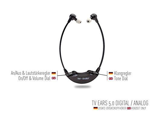 TV Ears 5.0 Zusatz TV-Kopfhörer zur Hörunterstützung – kompatibel mit TV Ears 5.0 Digital und Analog sowie TV Ears 2.3 - 2