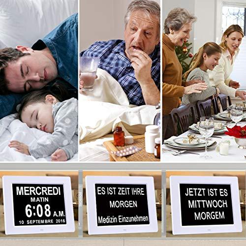 Digitaler Kalender Tag Uhr | Alzheimeruhr | Seniorenuhr - 4