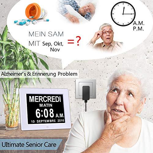 Digitaler Kalender Tag Uhr | Alzheimeruhr | Seniorenuhr - 5