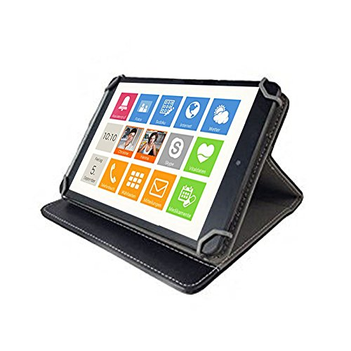 3er Starter Set: Asina Tablet für Senioren 10.1 / 25,65cm Tablet Pc Tasche + Touch Pen + Profi Staubschutz Stöpsel – 10 Zoll Schwarz 3 in 1 * - 4