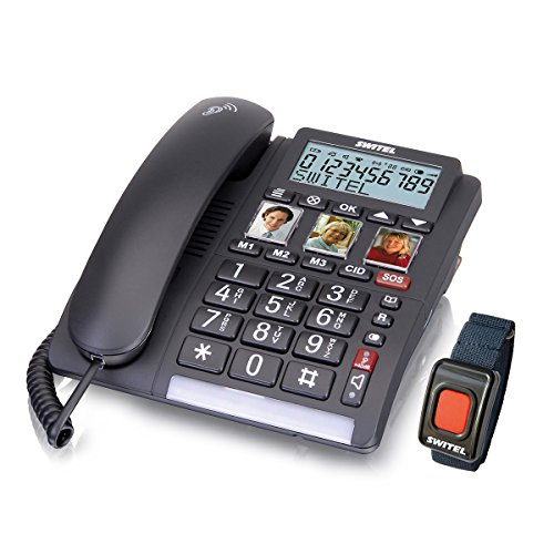 Switel TF560 schnurgebundenes Grosstastentelefon mit Alarmgeber, extra laut