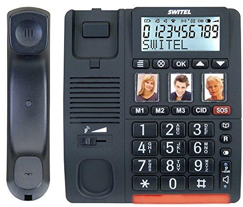 Switel TF560 schnurgebundenes Grosstastentelefon mit Alarmgeber, extra laut -