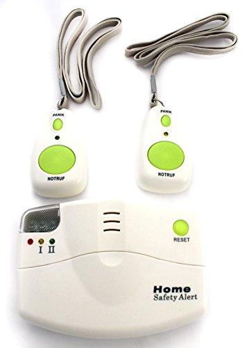 Mobiler Alarm Notruf Knopf 1 Empfänger + 2 Sender Krankenpflege Altenpflege Senioren Rentner Hausalarm Pflege Hausnotruf Mobil Panik Panikalarm Funkalarm MARKE EIFA