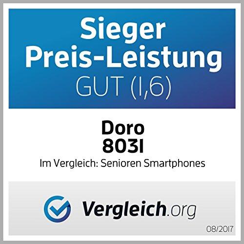 Doro 8031 4G Smartphone (11,4 cm (4,5 Zoll), LTE, 5 MP Kamera, Android 5.1) weiß/silber - 8