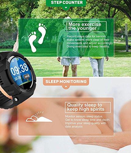 Smart Watch für Senioren,QIMAOO Smart Uhr mit GPS Tracker, Handy Ortung, SOS und App Tracking für Android Smartphone,HTC, Sony, Samsung, LG Google, Pixel ,iPhone 5 / 5S / 6 / 6Plus/7 / 7plus/8/X - 3