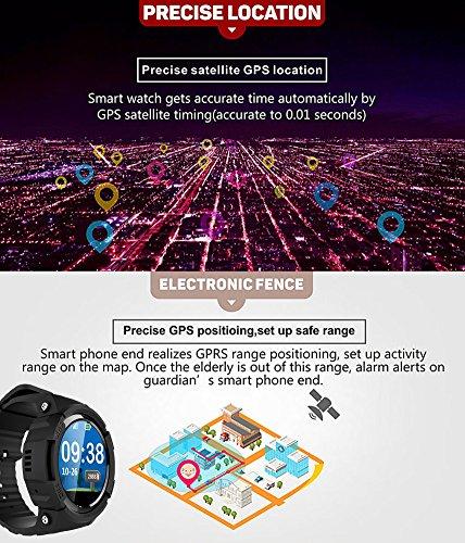 Smart Watch für Senioren,QIMAOO Smart Uhr mit GPS Tracker, Handy Ortung, SOS und App Tracking für Android Smartphone,HTC, Sony, Samsung, LG Google, Pixel ,iPhone 5 / 5S / 6 / 6Plus/7 / 7plus/8/X - 5