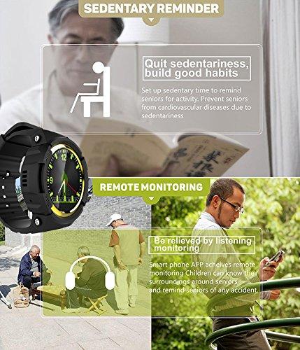 Smart Watch für Senioren,QIMAOO Smart Uhr mit GPS Tracker, Handy Ortung, SOS und App Tracking für Android Smartphone,HTC, Sony, Samsung, LG Google, Pixel ,iPhone 5 / 5S / 6 / 6Plus/7 / 7plus/8/X - 7