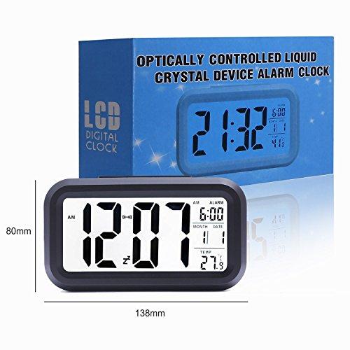 E2Buy Digitale LCD Wecker, automatische Nacht Glow Smart Licht aktivierter Sensor Nacht Digitaler Schlummer Wecker mit extra großer Anzeige, Datum und Temperatur Display (Schwarz) - 7