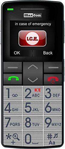 Maxcom MM 715 Großtasten Handy mit Notrufarmband (4,5 cm (1,8 Zoll) Farbdisplay, großes Telefonbuch (300), FM Radio, 1,3 Megapixel Kamera, WAP, Bluetooth) silber/schwarz - 2