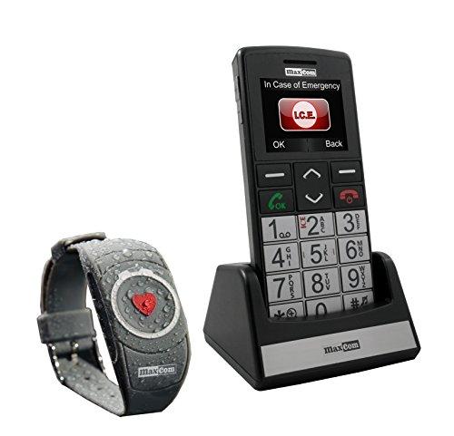 Maxcom MM 715 Großtasten Handy mit Notrufarmband (4,5 cm (1,8 Zoll) Farbdisplay, großes Telefonbuch (300), FM Radio, 1,3 Megapixel Kamera, WAP, Bluetooth) silber/schwarz - 5