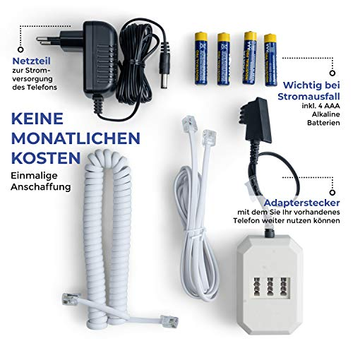 Pflegerufset Senioren-Notruf-Telefon mit Armbandsender-Sender und Adapterstecker - 5